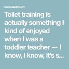 Toilet training is actually something I kind of enjoyed when I was a toddler teacher — I know, I know, it's strange. There's just something about guidingteeny tiny people on the…