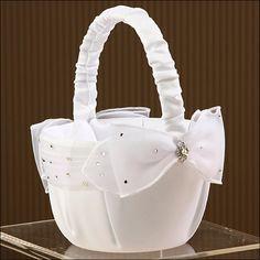 Flower Girl Basket - Sparkle - White