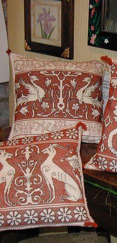 Punto Assisi Academy - Expositions Pillow Embroidery, Blackwork Embroidery, Beaded Embroidery, Cross Stitch Embroidery, Embroidery Patterns, Stenciled Pillows, Decorative Pillows, Running Stitch, Cozy Corner