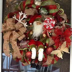 Rustic Santa deco mesh wreath burlap Christmas por WreathsEtc