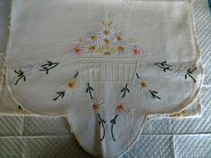 Vintage Table Runner White Linen Embroideried Floral by FabulousFunFashion on Etsy