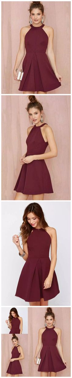 CHIC A-LINE SCOOP SATIN BURGUNDY SIMPLE SHORT PROM DRESS HOMECOMING DRESS AM809 #amyprom #fashion #shortprom#homecomingdress #chic #modest #promdress  #shortpromdress  #burgundy