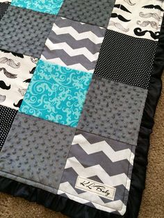Teal Mustache Blanket by KLBaby on Etsy