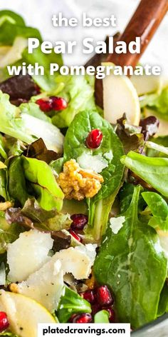Pomegranate Pear Salad with Walnuts is loaded with flavors and would be a delicious addition to your Holiday dinner table! A vibrant salad full of different textures that is easy to whip up and makes every dinner special. Quick Healthy Meals, Healthy Dinner Recipes, Diet Recipes, Thanksgiving Recipes, Fall Recipes, Holiday Recipes, Side Dishes For Bbq, Side Dish Recipes, Pear Salad
