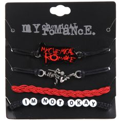 Hot Topic My Chemical Romance Cord Bracelet Set ($8.40) ❤ liked on Polyvore featuring jewelry, bracelets, multi, cord bracelet and rope bracelet