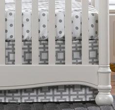 "Gray Gigi Crib Skirt 17"" Drop   Liz And Roo Elephant Baby Bedding, Baby Bedding Sets, Crib Bedding, Neutral Bedding, White Nursery, Girl Nursery, Unique Baby Gifts, Crib Skirts, Gender Neutral Baby"