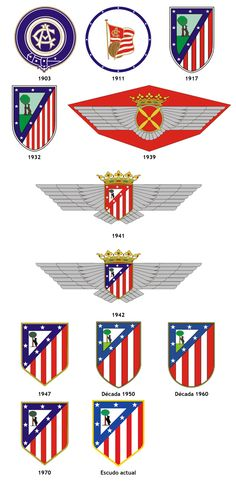 Atlético de Madrid Spain Football, Football Soccer, Football Players, Soccer Teams, Baseball Pennants, At Madrid, Team Mascots, Old Logo, Everton Fc