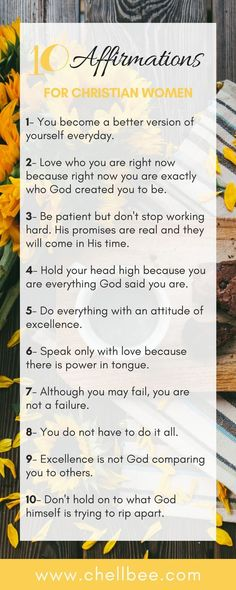 10 Daily Affirmation for Christian Women #affirmations #women #faith #Christian