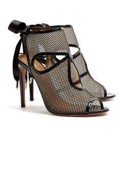The hottest summer sandals: Aquazurra peep toe black mesh heels