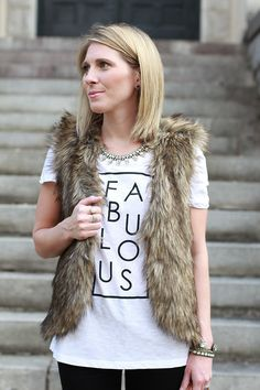 Faux Fur Vest, Fabulous Graphic Tee, Fall Casual