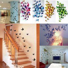 12pcs 3D Butterfly Wall Art Design DIY Decal Stickers Mural Home Wall Decoration