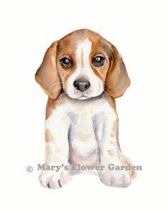Beagle-Aquarell print Welpe Malerei Hund von Marysflowergarden