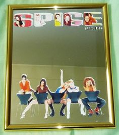 SPICE GIRLS OFFICIAL MERCHANDISE - A4 SIZE MIRROR - ULTRA RARE!    I bought this mirror back in the late 90s and it hung proudly on my wall for years until I moved house. It's been sitting in a box for the last 5 years out of harms way so is still in great condition. The mirror is about the size of an A4 piece of paper.