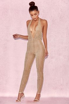 Clothing : Jumpsuits : 'Tabby' Gold Lurex Semi Sheer Jumpsuit & Pants https://bellanblue.com/collections/new