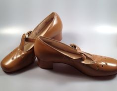 Genuine LEATHER TStrap Shoes 1950s Vintage by rememberwhenemporium, $69.95