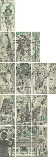 statue of liberty made of cut-up one dollar bills, NICE repurpose!! mark wagner