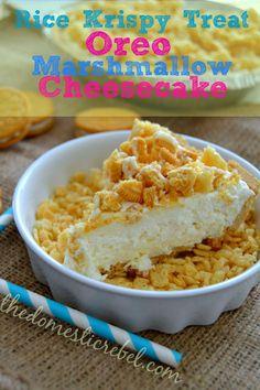 Rice Krispy Treat Oreo Marshmallow Cheesecake {No-Bake!}