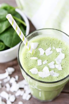 1/2 cup coconut milk 1/2 cup plain Greek yogurt (we use Chobani) 1 cup spinach 1 large banana, peeled 1 large green apple, cored, peeled and chopped 2 tablespoons shaved coconut 1 cup ice