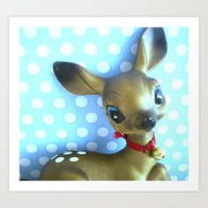 vintage deer and blue and white polka dots Art Print by Vintage Cuteness -