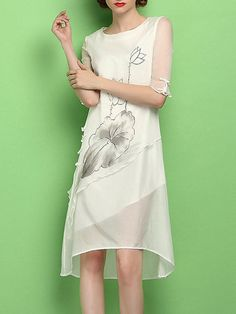 Asymmetric Floral-print Silk Midi Dress