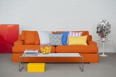 Brighten it up with Bemz. Göteborg sofa cover in Mandarin Orange in Panama Cotton. Cushion covers in Sun Yellow Panama Cotton, Gotland Stripe Silver/White, Stockholm Stripe Candy Pink/White and True Blue in Panama Cotton from Bemz. www.bemz.com