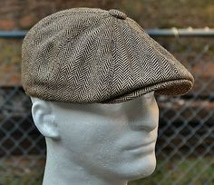 1baa5c22bdf HERRINGBONE TWEED GATSBY Newsboy Cap Men Wool Ivy Hat Golf Driving Flat  Cabbie