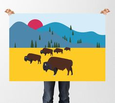 INSTANT DOWNLOAD Bison Wall Art, Herd of Bison, North American Bison, Mountain Print, Bison Print, Nursery Printable Art,  Colorful Print, by tothewoodside on Etsy