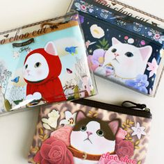 Flat pouch for girl. Lovely cat printed 3 type pouch. Good for pencil, hand mirror, feminine supplies. Pencil case pouch.  http://morecozy.com/shop/flat-pouch-bag-cat/