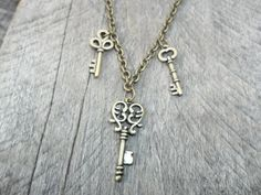 Steampunk Antiqued Brass 3 Key Drop Pendant on Antiqued Brass Cable Link Chain