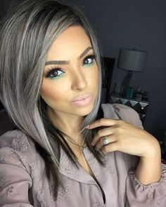 21 Pinterest Looks That Will Convince You to Dye Your Hair Grey | Straight Silver Strands