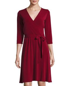 3/4-Sleeve+Perfect+Wrap+Dress,+Wine+by+Neiman+Marcus+at+Neiman+Marcus+Last+Call.