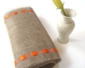 Natural Burlap Table Runner with Orange Satin Ribbon
