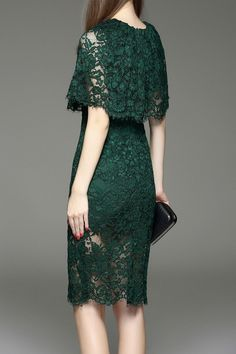 Eveda.cc Blackish Green Cut Out Lace Capelet Dress | Knee Length Dresses at DEZZAL