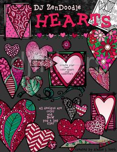 ZenDoodle Hearts, zentangle, heart clip art, valentine clip art