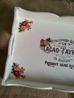 Arte lá em casa: Bandeja Trabalhada Retangular G - Cacao Payraud Fl...