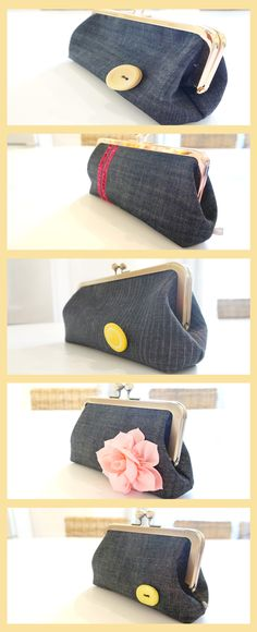 Cute doesn't even begin to describe this black denim handbag. Embellished with a complimentary green button, this clutch is the perfect gift for yourself or a friend or loved one. Denim Clutches, Denim Clutch Bags, Denim Handbags, Clutch Purse, Handmade Clutch, Distressed Denim, Gifts For Women, Gift Guide, Fashion Accessories