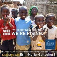 Thanks Erin-Marie for joining The Hunger Project for this year's below the line. Across our programmes communities are coming together to end their own hunger and poverty - following training in construction women and men from the community have successfully built themselves a school, they even made their own bricks. Join belowtheline and support others to rise http://www.thehungerproject.co.uk/getinvolved/live-below-the-line/