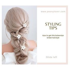 Styling tips! Today we'll talk about bohemian hair style with floral hair pins, for romantic and soft look. Bohemian Headpiece, Bohemian Wedding Hair, Wedding Hair Pins, Wedding Updo, Bridal Hair Flowers, Bridal Hairpiece, Wedding Hairstyles, Bridal Hairstyle, Floral Hair