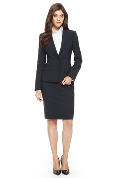 Boss stretch-wool navy skirt suit office outfits in 2019 оде Fashion For Petite Women, Womens Fashion Casual Summer, Office Fashion Women, Fashion Fall, Fashion Trends, Office Looks, Look Office, Navy Office, Business Professional Outfits