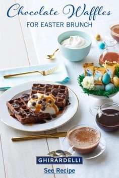 Set your Easter Brunch table with Try our light and airy yet decadently rich Chocolate Waffles made with Ghirardelli Semi-Sweet Breakfast Bars, Breakfast Dishes, Breakfast Ideas, Easter Recipes, Holiday Recipes, Holiday Foods, Just Desserts, Dessert Recipes, Brunch Recipes