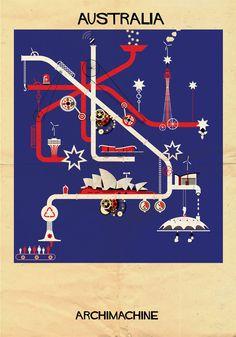 """Galeria - ARCHIMACHINE: 17 países ilustrados como """"máquinas arquitetônicas"""" - 61"""