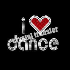 I Love Dance Rhinestone Motif Iron on