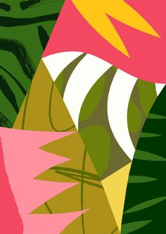 'Heliconia' Available to licence. Art Therapy Activities, Plant Illustration, Digital Collage, Abstract Pattern, Color Inspiration, Drawings, Artwork, Prints, Patterns