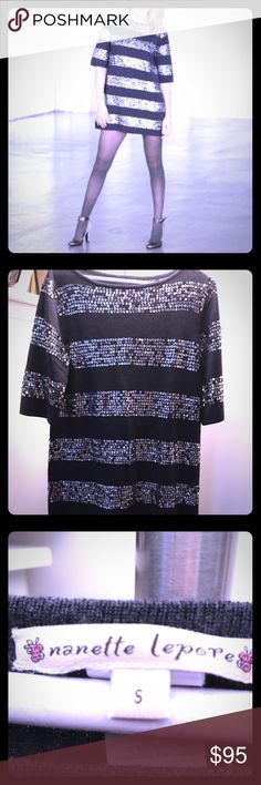 Nanette Lepore Sequined Sweater Tunic Dress This Nanette Lepore was an amazing find! Perfect condition & unique. Depending on your height, can be worn as mini as in the pic (I am 5'7) or with leggings - or both. It is very versatile! Grey merino wool sweater with beautiful sequins - no flaws. Size small, but I am a size 2 and was a size 6 in the photo listed. Nanette Lepore Tops Tunics