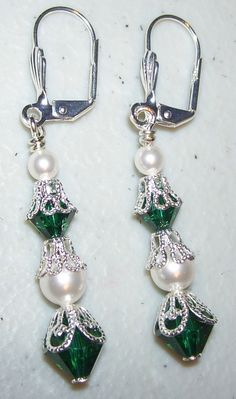 Swarovski Emerald Green and White Pearl Earrings with by mommazart, $14.00