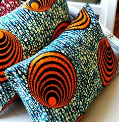 Oceana  Throw batik pillow cover Genuine wax print batik