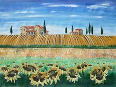 Grosses Gemälde Toskana 120x160 Grossformat Wiese Sonnenblumen Italienisch Landschaft Deutsche Malerei Riesiges Bild für Büro Wohnzimmer