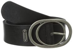 Fossil Women's Vintage Oval Buckle Jean Belt, Black, Medium