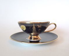 Vintage C.M. Hutschenreuther Black and Gold Teacup - Souvenir from Danube Ulm Cathedral - Germany - Mid Century by HouseofLucien, $28.00