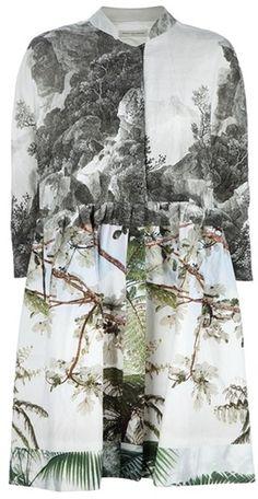 Photographic Prints - mixed nature print dress - trees & landscape, digital print fashion // Dries van Noten